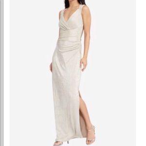 Lauren Ralph Lauren Metallic Cutout Gown Gold 12